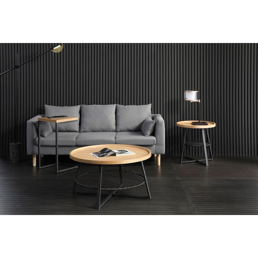 SalesFever Couchtisch, Ablagefläche unter der Tischplatte aus Metallrahmen und Polyrattan