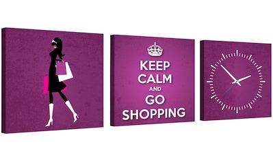 Conni Oberkircher´s Bild »Shopping«, Menschen, (Set), mit dekorativer Uhr kaufen