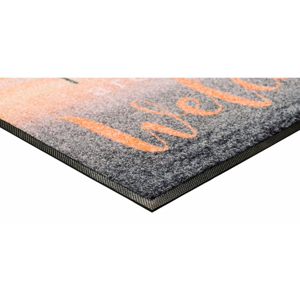 wash+dry by Kleen-Tex Fußmatte »Welcome Friends«, rechteckig, 7 mm Höhe, Schmutzfangmatte, mit Spruch