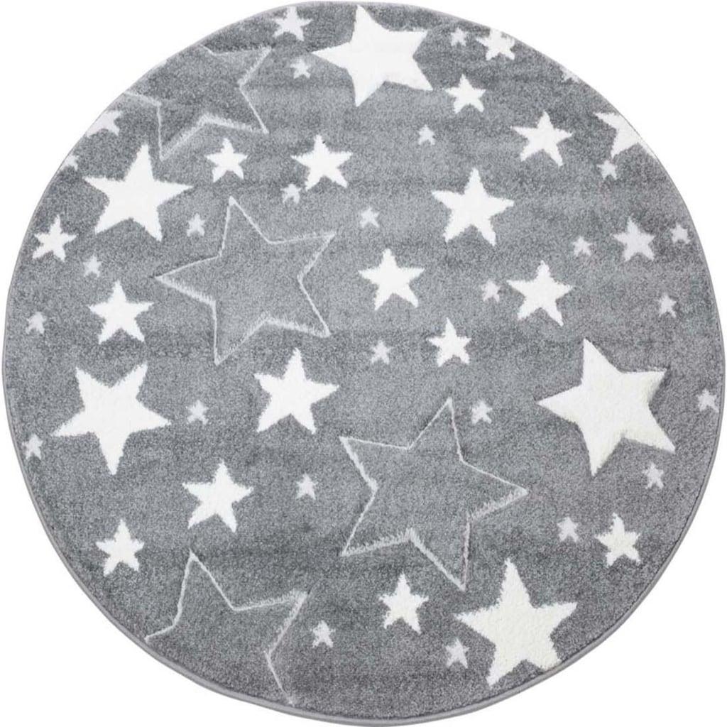 Carpet City Kinderteppich »Bueno Kids 1325«, rund, 13 mm Höhe, Sterne, handgearbeiteter Konturenschnitt