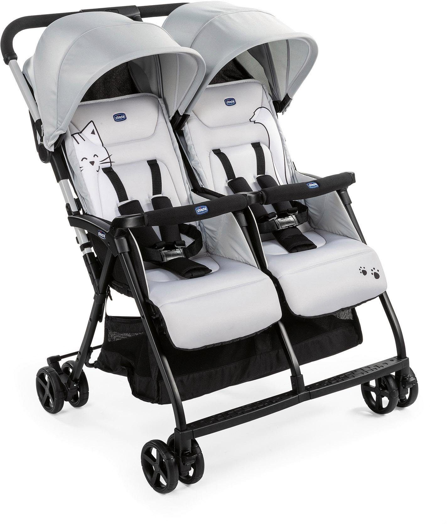 Chicco Zwillingsbuggy OHlalà Twin, Silver Cat, 15 kg, Zwillingskinderwagen; Kinderwagen für Zwillinge; Buggy Zwillingswagen silberfarben Kinder Zwillingsbuggys Buggys Buggies