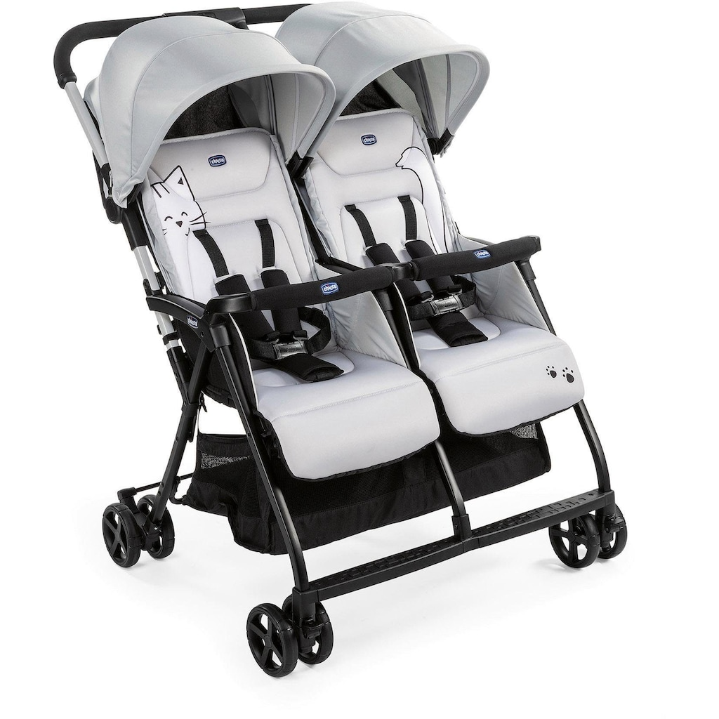 Chicco Zwillingsbuggy »OHlalà Twin, Silver Cat«, 15 kg, Zwillingskinderwagen; Kinderwagen für Zwillinge; Buggy für Zwillinge; Zwillingswagen