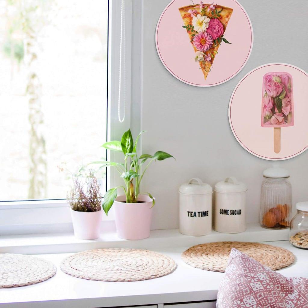 Wall-Art Mehrteilige Bilder »Blumen Pizza Eis Ø45 cm«, (Set, 2 St.)