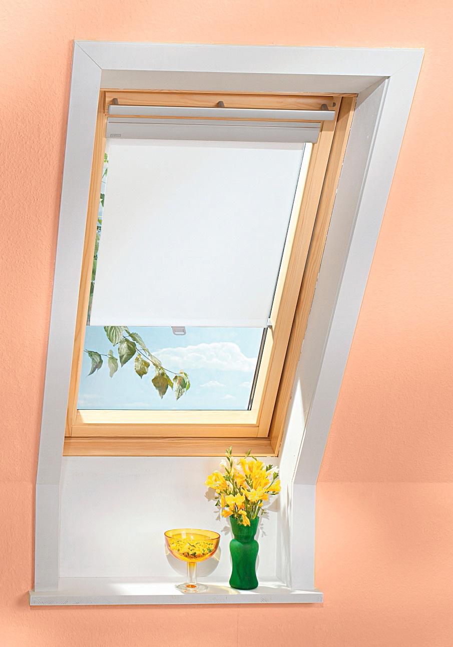 VELUX Dachfensterrollo, Lichtschutz weiß Dachfensterrollos Rollos Jalousien Dachfensterrollo