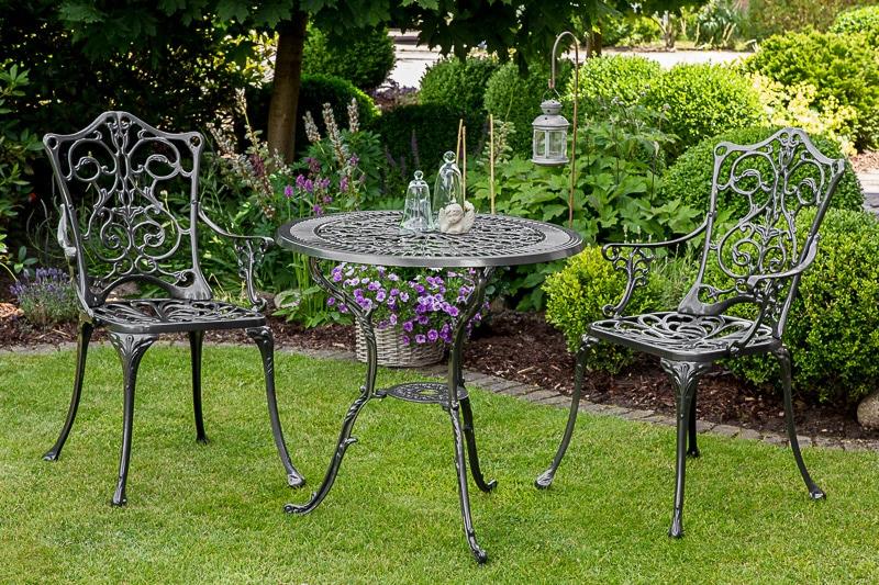 MERXX Gartenmöbelset Lugano 3-tlg 2 Sessel Tisch Ø70 cm Aluminium grau