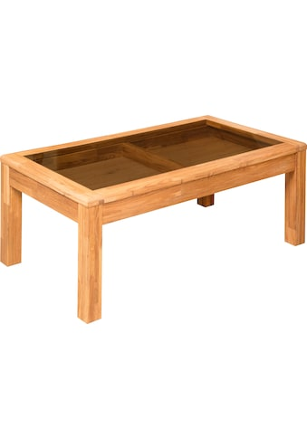 andas Couchtisch »Freyr«, aus massivem Eichenholz, mit einer schönen Glastischplatte,... kaufen