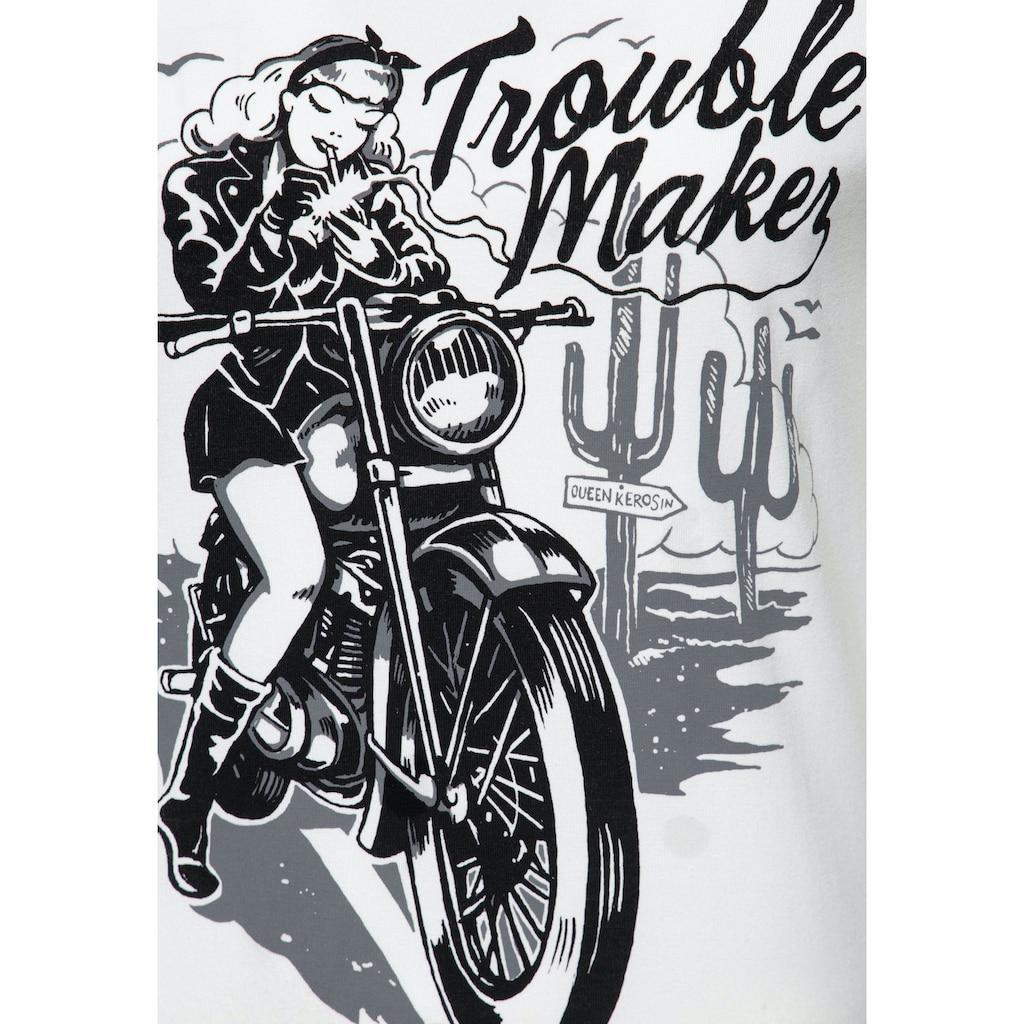 QueenKerosin Print-Shirt »Trouble Maker«, mit Frontmotiv