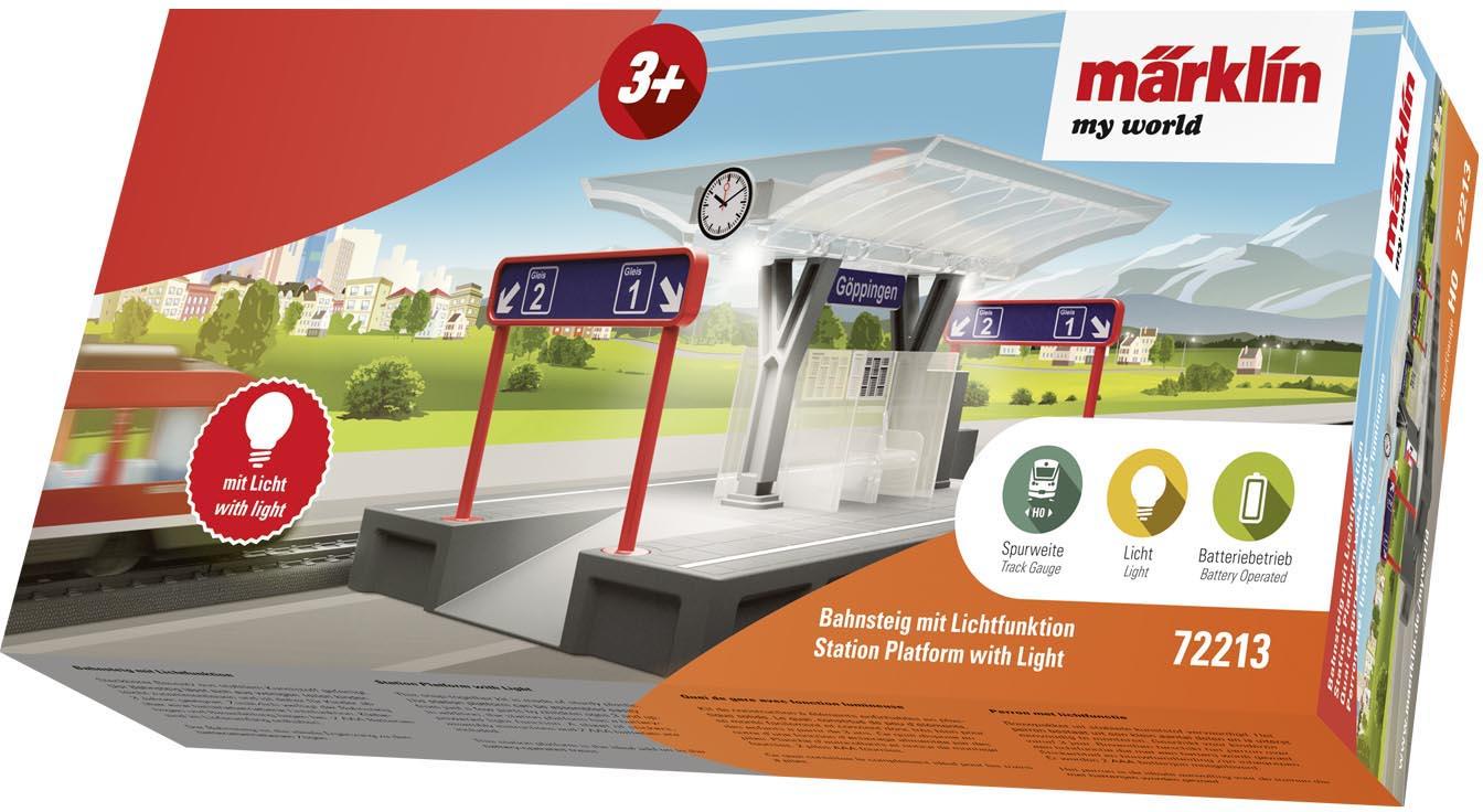 Märklin Modelleisenbahn-Gebäude my world - Bahnsteig 72213, Mit Lichtfunktion grau Kinder Schienen Zubehör Modelleisenbahnen Autos, Eisenbahn Modellbau