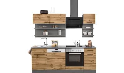 HELD MÖBEL Küchenzeile »Tulsa«, mit E-Geräten, Breite 210 cm, schwarze Metallgriffe, hochwertige MDF Fronten kaufen