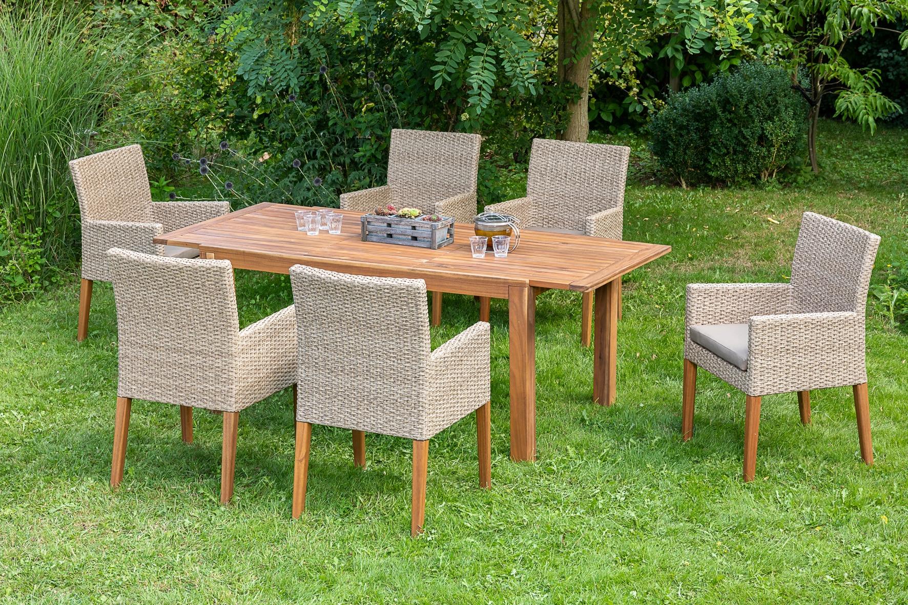 MERXX Diningset Ranzano 13-tlg 6x Sessel Tisch 90x200 cm inkl Sitzkissen