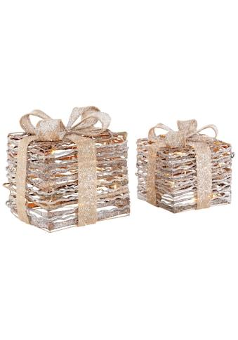 LED Dekolicht »Geschenkbox«, 2-teilig, mit Glitter 20x20x26 cm und 25x25x31 cm kaufen