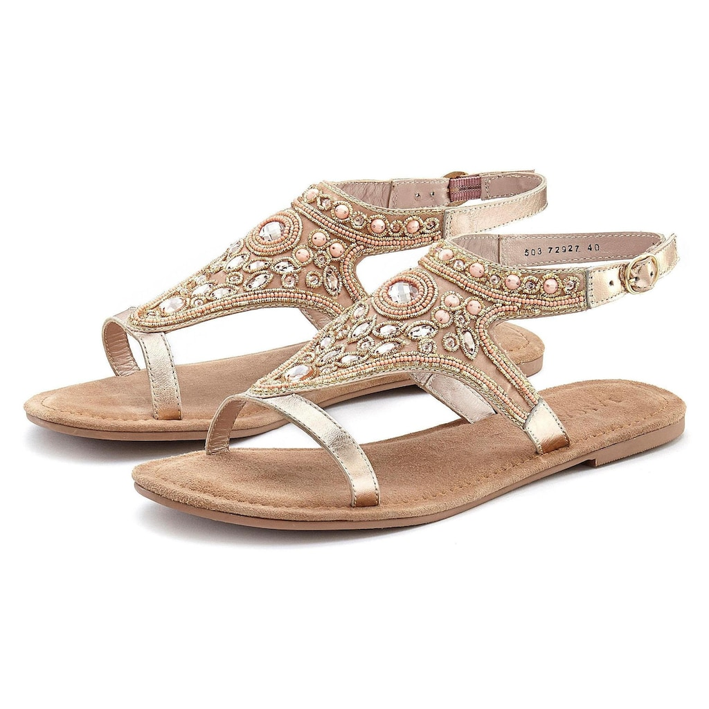 LASCANA Sandale, aus Leder mit aufwendiger Verzierung