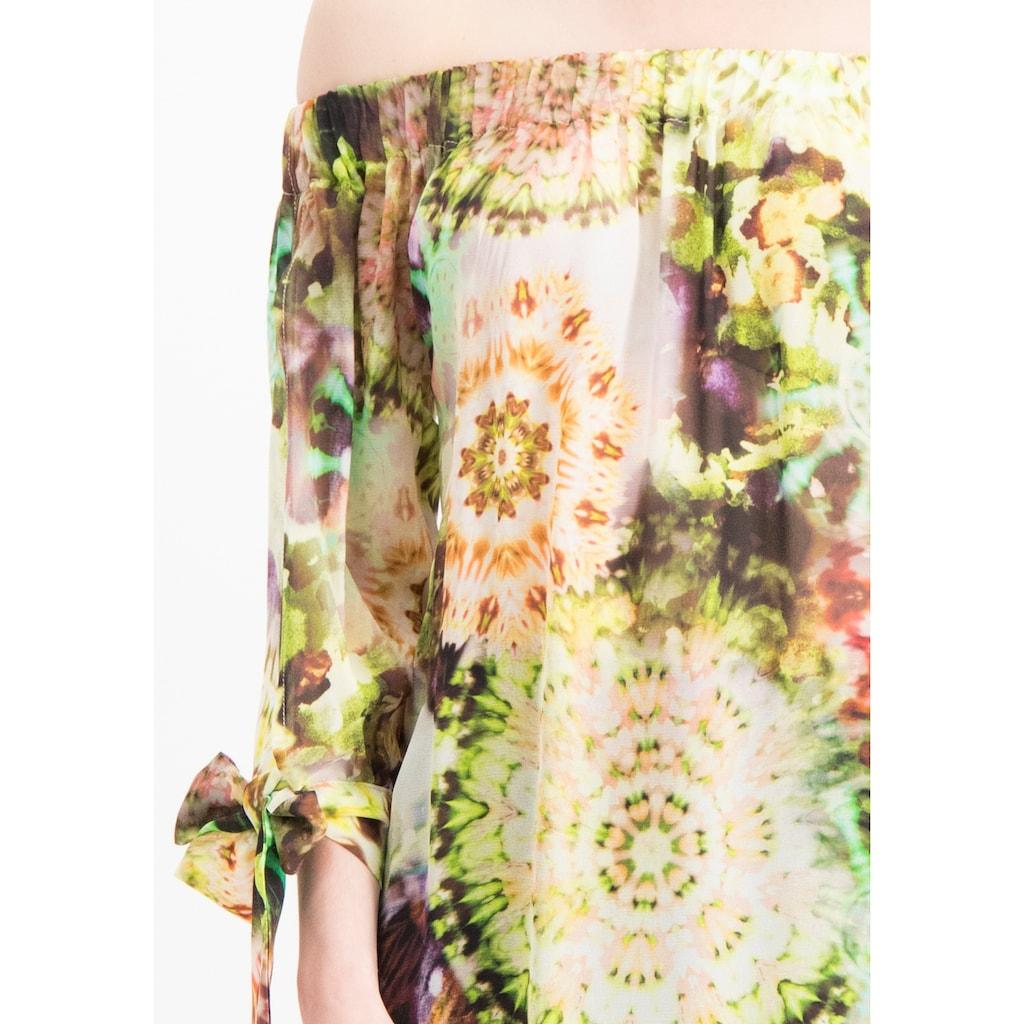 Nicowa Leichte Carmenbluse COMITA mit Batik-Design