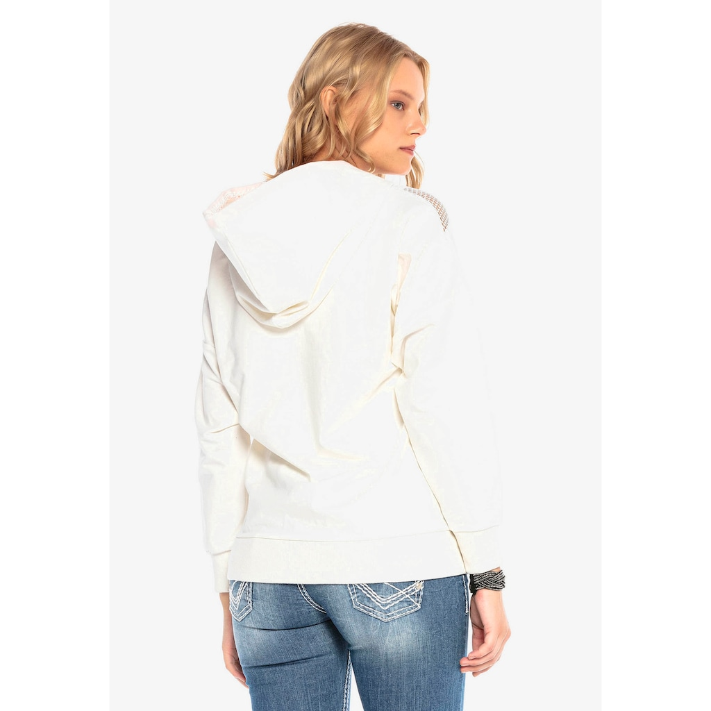 Cipo & Baxx Kapuzensweatshirt, mit raffiniertem Netzdesign