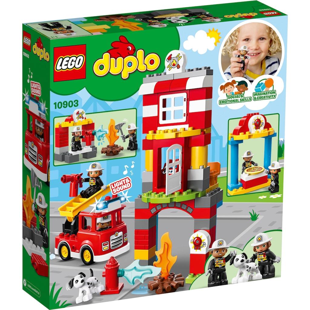 LEGO® Konstruktionsspielsteine »Feuerwehrwache (10903), LEGO® DUPLO™«, (76 St.), mit Licht- und Geräuscheffekten