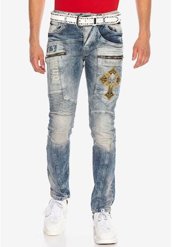 Cipo & Baxx Bequeme Jeans, im Biker-Stil in Straight Fit kaufen