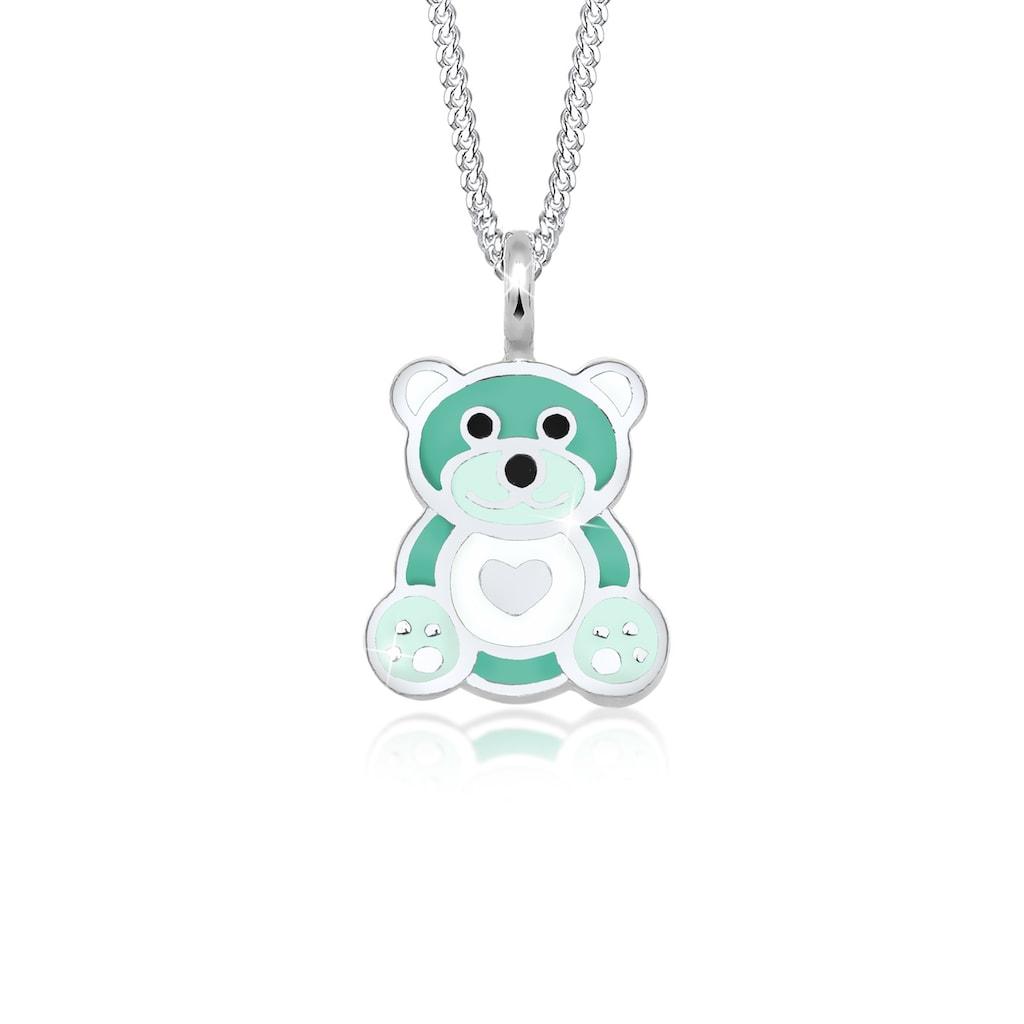 Elli Collierkettchen »Kinder Teddybär Herz Emaille 925 Silber«