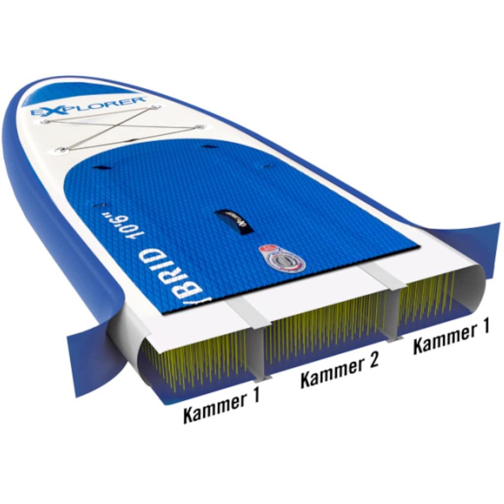 EXPLORER Inflatable SUP-Board »Hybrid 10.6 Doppelkammer Komplettset«, (9 tlg.), mit Paddel, Kajaksitz, Pumpe, Fangleine, Packsack