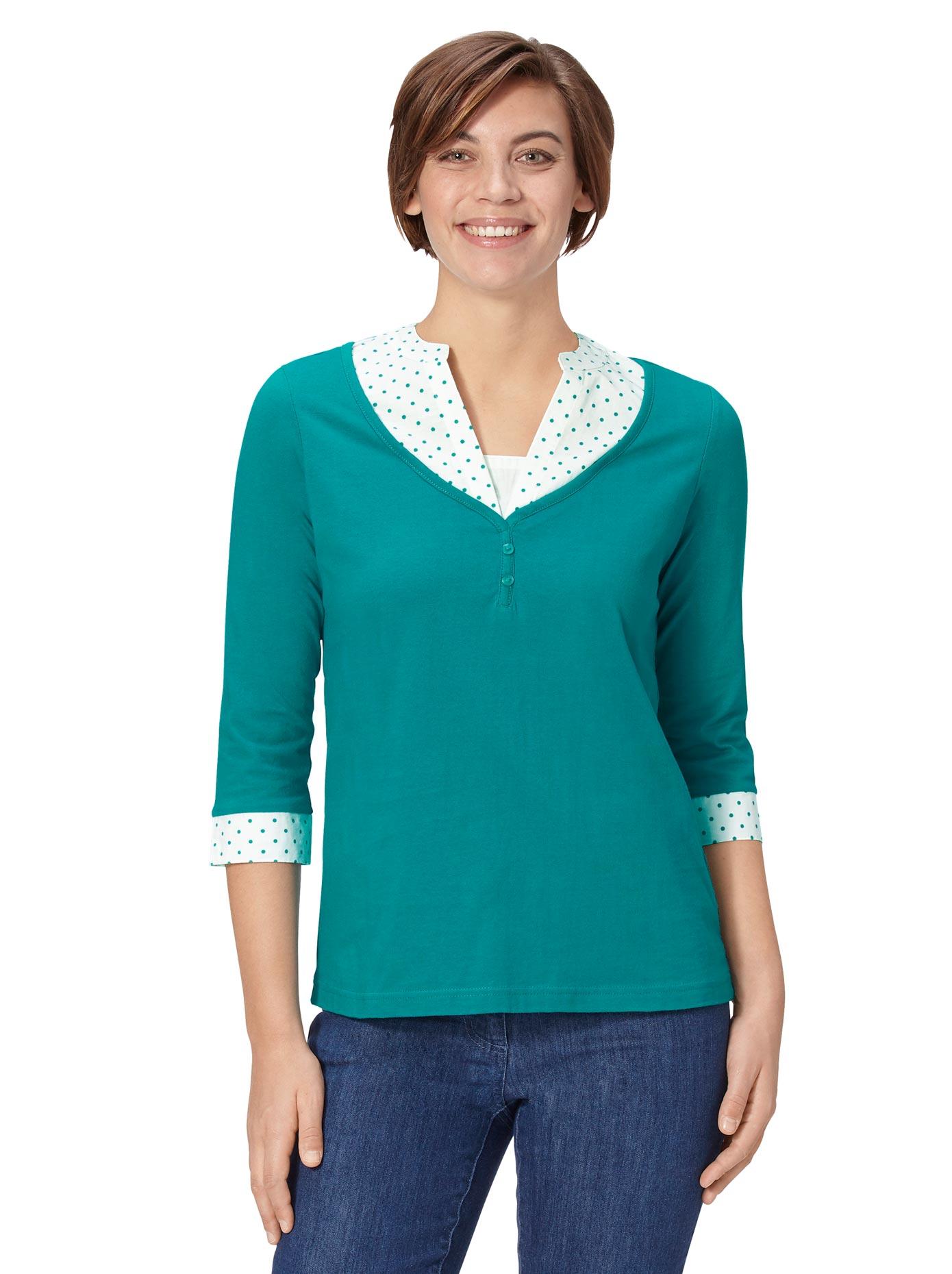 Classic Basics 2-in-1-Shirt mit geschlitzten Manschetten | Bekleidung > Shirts > 2-in-1 Shirts | Grün | Classic Basics