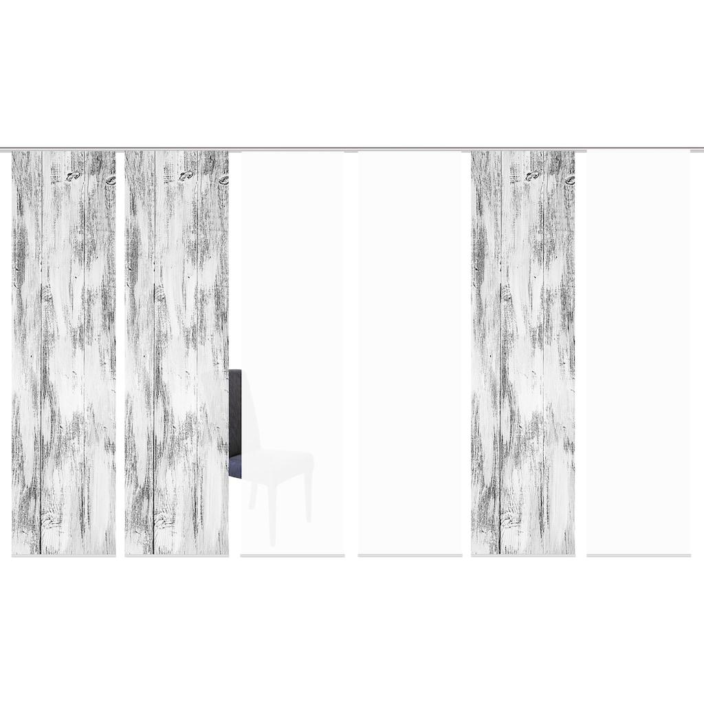 HOME WOHNIDEEN Schiebegardine »HOLARI 6er SET«, Dekostoff-Seidenoptik, Digital bedruckt