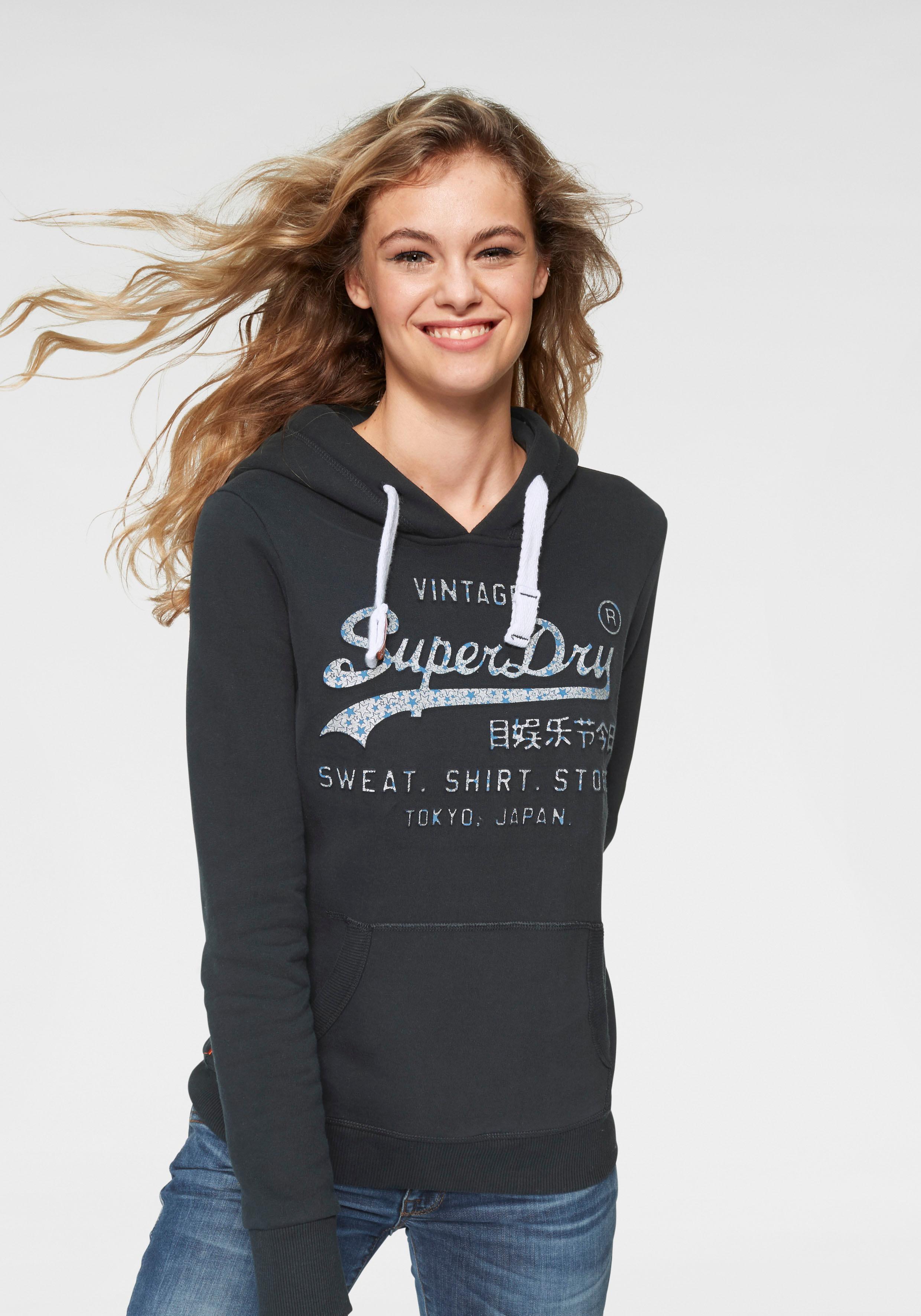 quality design 94cb1 7d0ee Superdry Sweatshirt »VINTAGE LOGO GLITTER CRACK ENTRY HOOD« für Damen | BAUR
