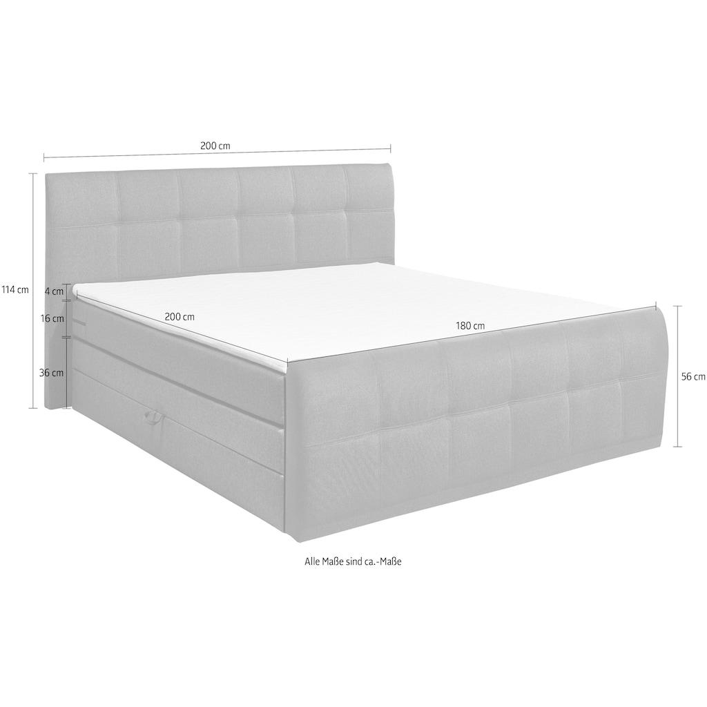 Boxspringbett »Sacramento«, inkl. zwei Bettkästen und Topper
