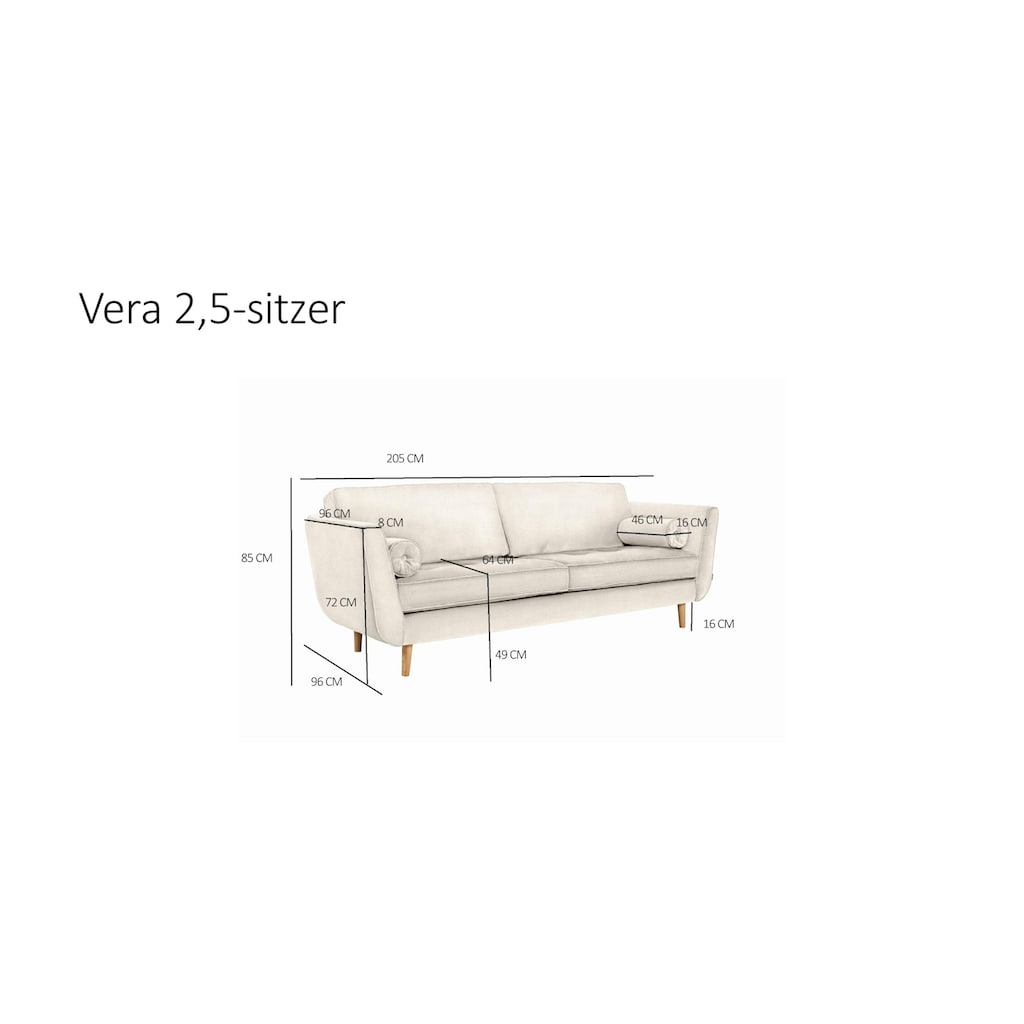 furninova 2,5-Sitzer, inkl. 2 Kissenrollen