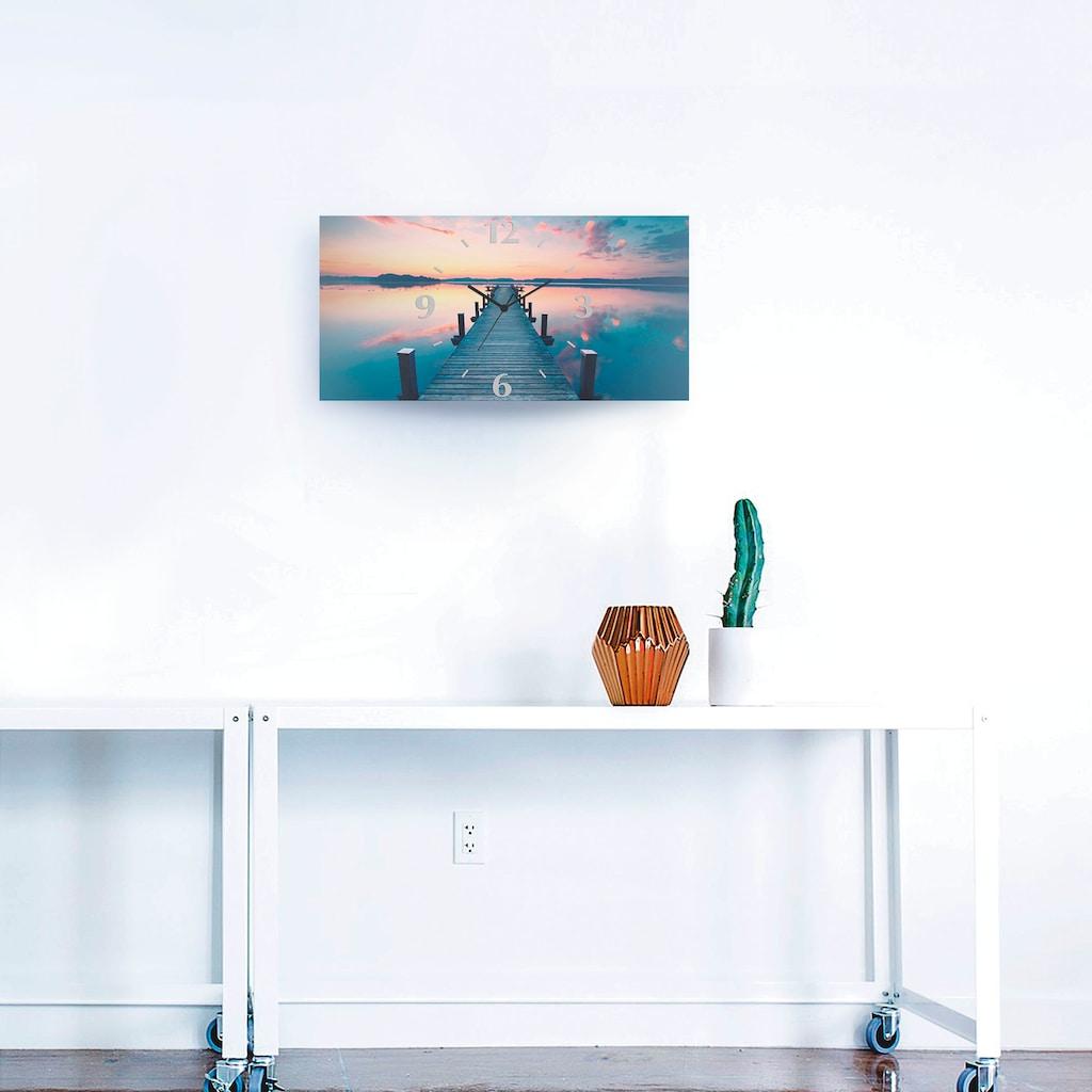 Artland Wanduhr »Langer Pier am See im Sonnenaufgang«, 3D Optik gebogen, lautlos, ohne Tickgeräusche, nicht tickend, geräuschlos - wählbar: Funkuhr o. Quarzuhr, moderne Uhr für Wohnzimmer, Küche etc. - Stil: modern