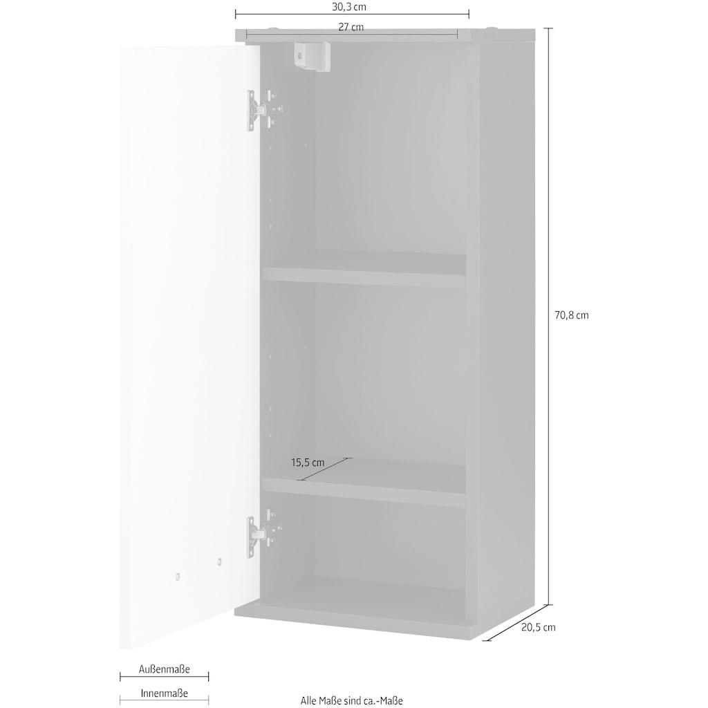 Schildmeyer Hängeschrank »Mobes«, Breite/Höhe: 30,3/70,8 cm, Tür beidseitig montierbar, Badschrank mit versetzbaren Böden