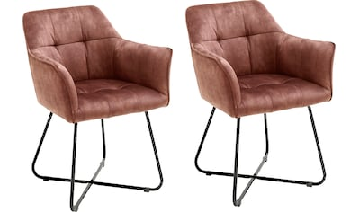 MCA furniture Esszimmerstuhl »Panama«, Vintage Veloursoptik mit Keder, Stuhl belastbar... kaufen