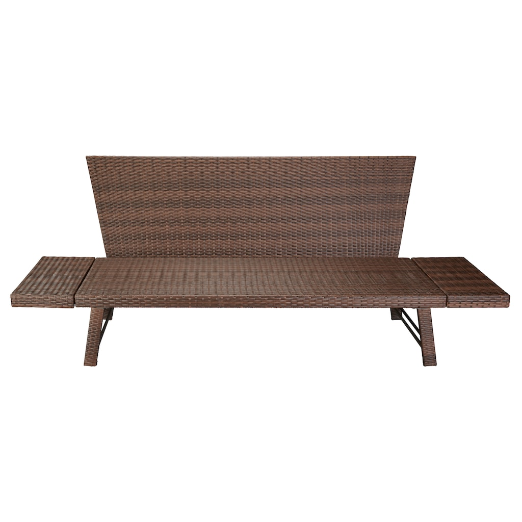 MERXX Gartenbank »Daybed Rattan«, BxTxH: 172x64x78 cm, mit Auflage und Rückenkissen