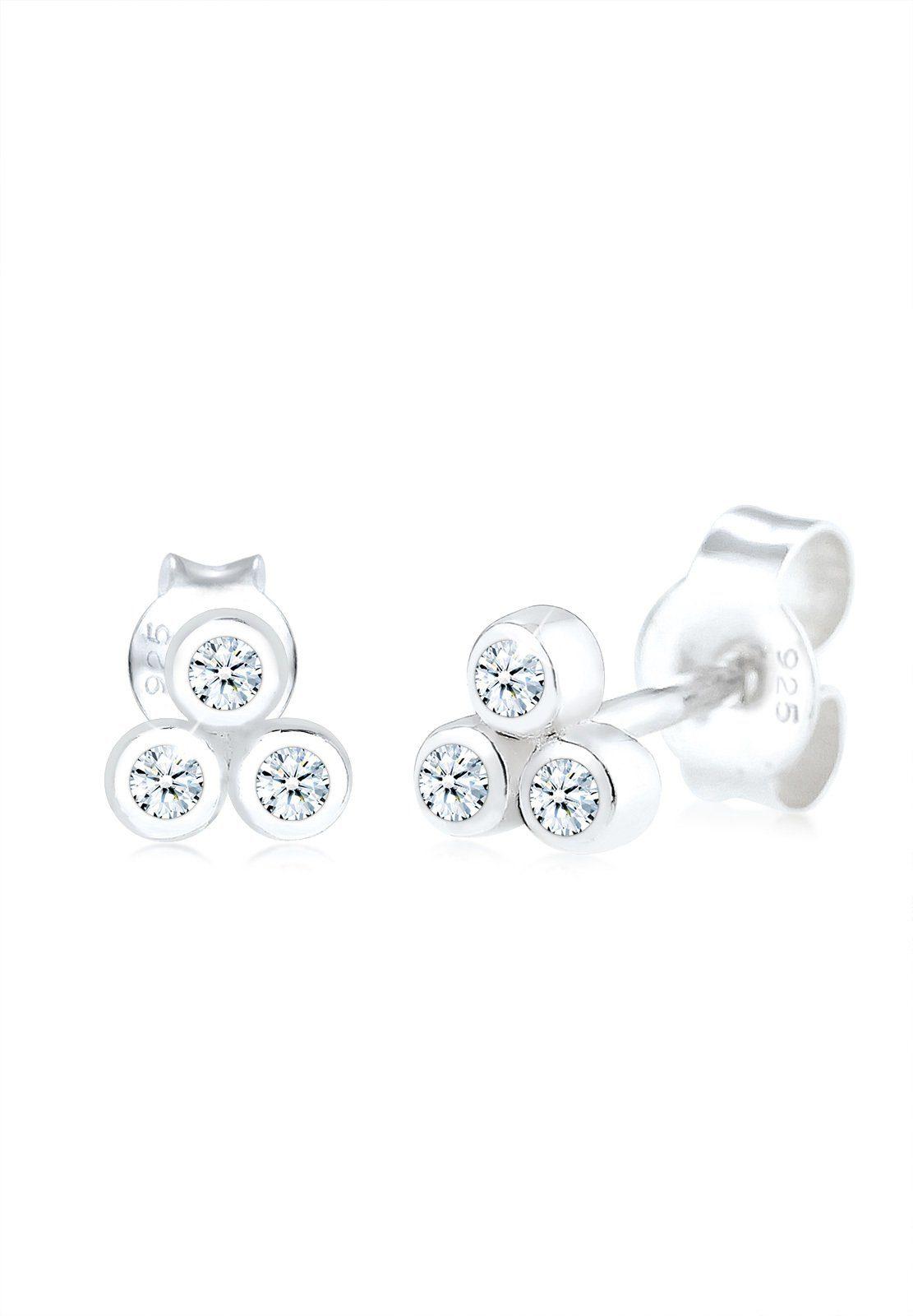 Diamore Paar Ohrstecker »Kreis Trio Diamant (0.12 ct.) 925 Sterling Silber«
