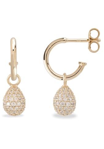 VILMAS Paar Creolen »Little Drop, 4028146653641«, mit abnehmbaren Einhängern und Zirkonia kaufen