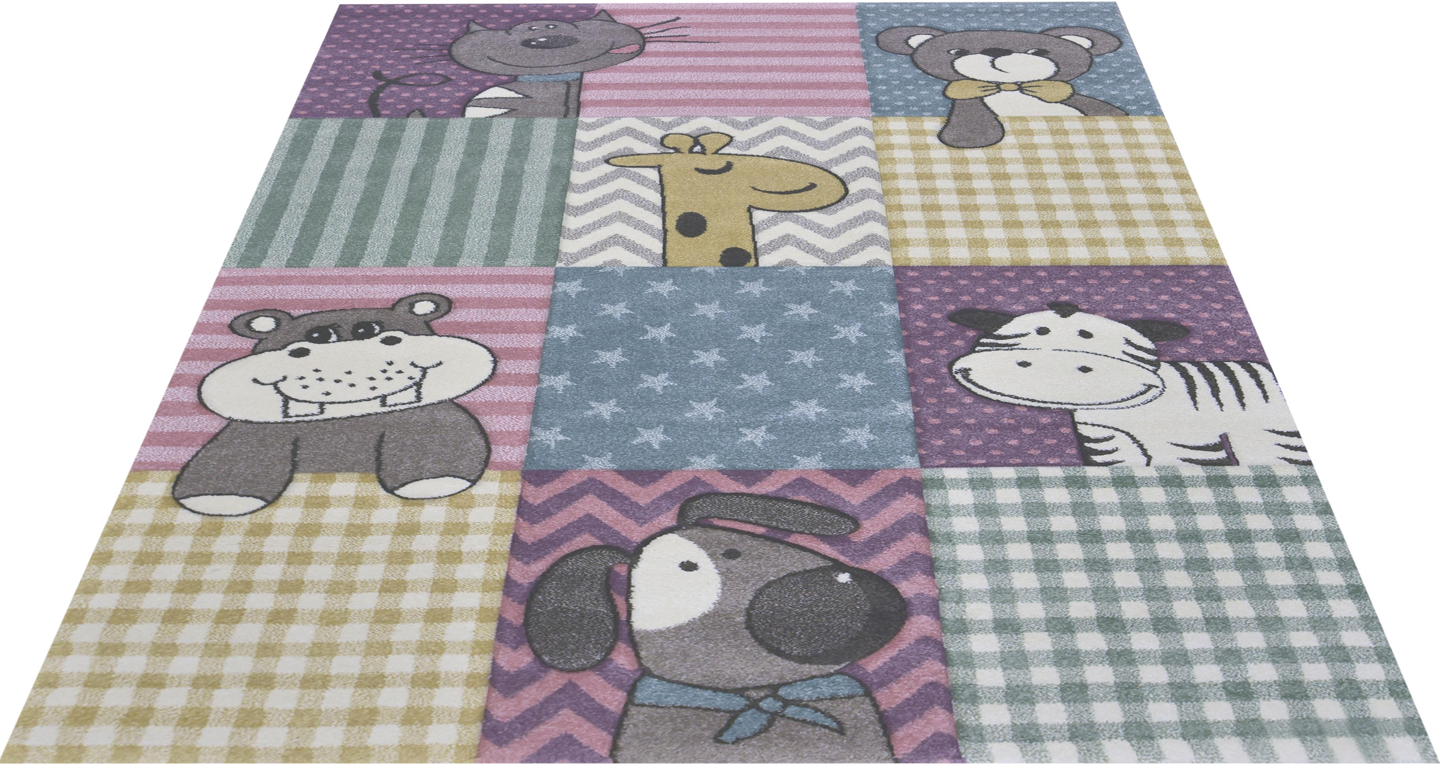 merinos Kinderteppich Pastel Kids 21906, rechteckig, 13 mm Höhe, lustige Tiere Motive bunt Kinder Bunte Kinderteppiche Teppiche