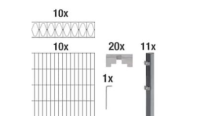 GAH Alberts Doppelstabmattenzaun »Eleganz«, anthrazit, 100 cm hoch, 10 Matten für 20... kaufen