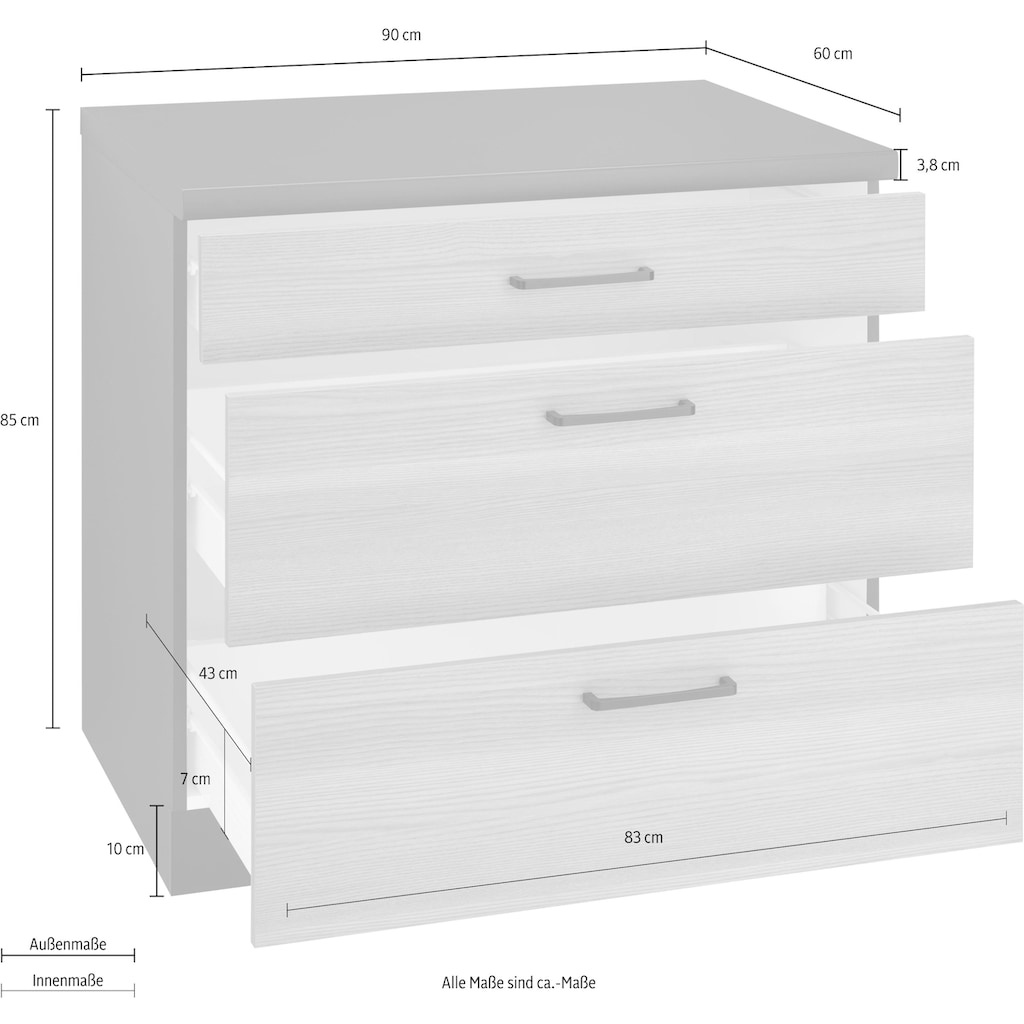wiho Küchen Unterschrank »Esbo«, 90 cm breit, mit 2 großen Auszügen