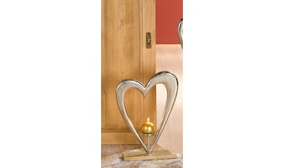 GILDE Dekoobjekt »Kerzenleuchter Großes Herz«, Höhe 52 cm, mit Kerzenhalter, aus Metall, Sockel aus Holz kaufen