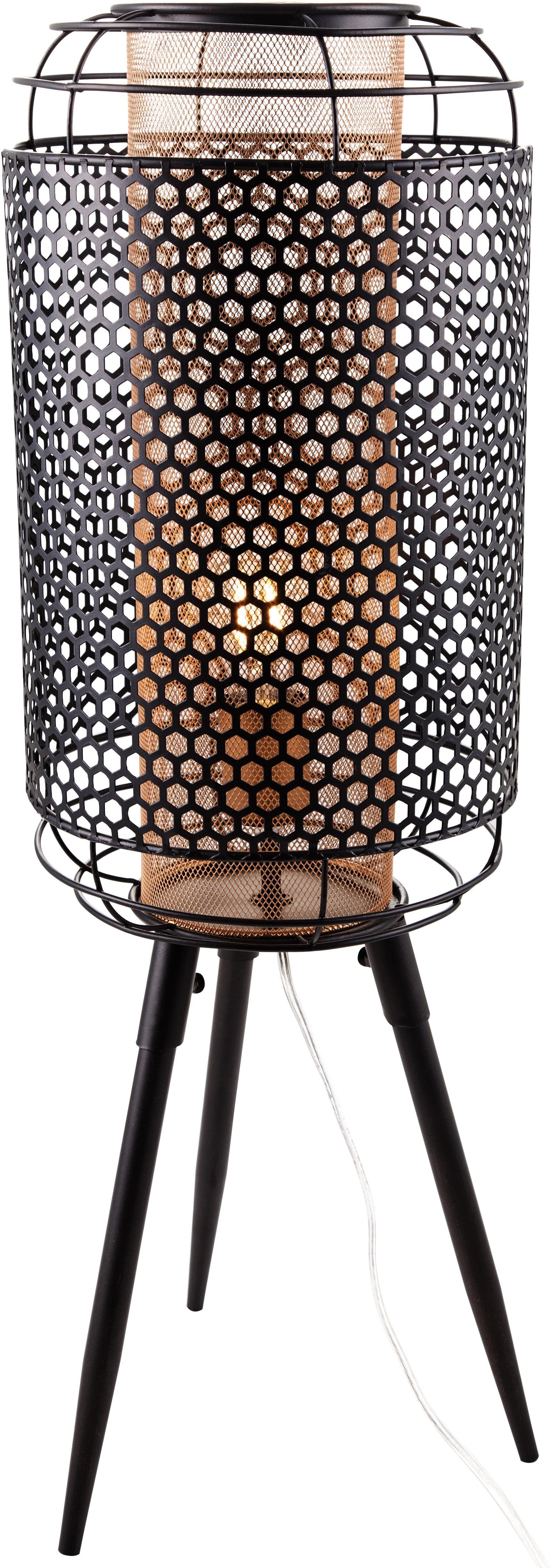 Nino Leuchten LED Tischleuchte Denton, E27, 1 St., Warmweiß, Höhe 70,5 cm, Durchmesser 24 cm