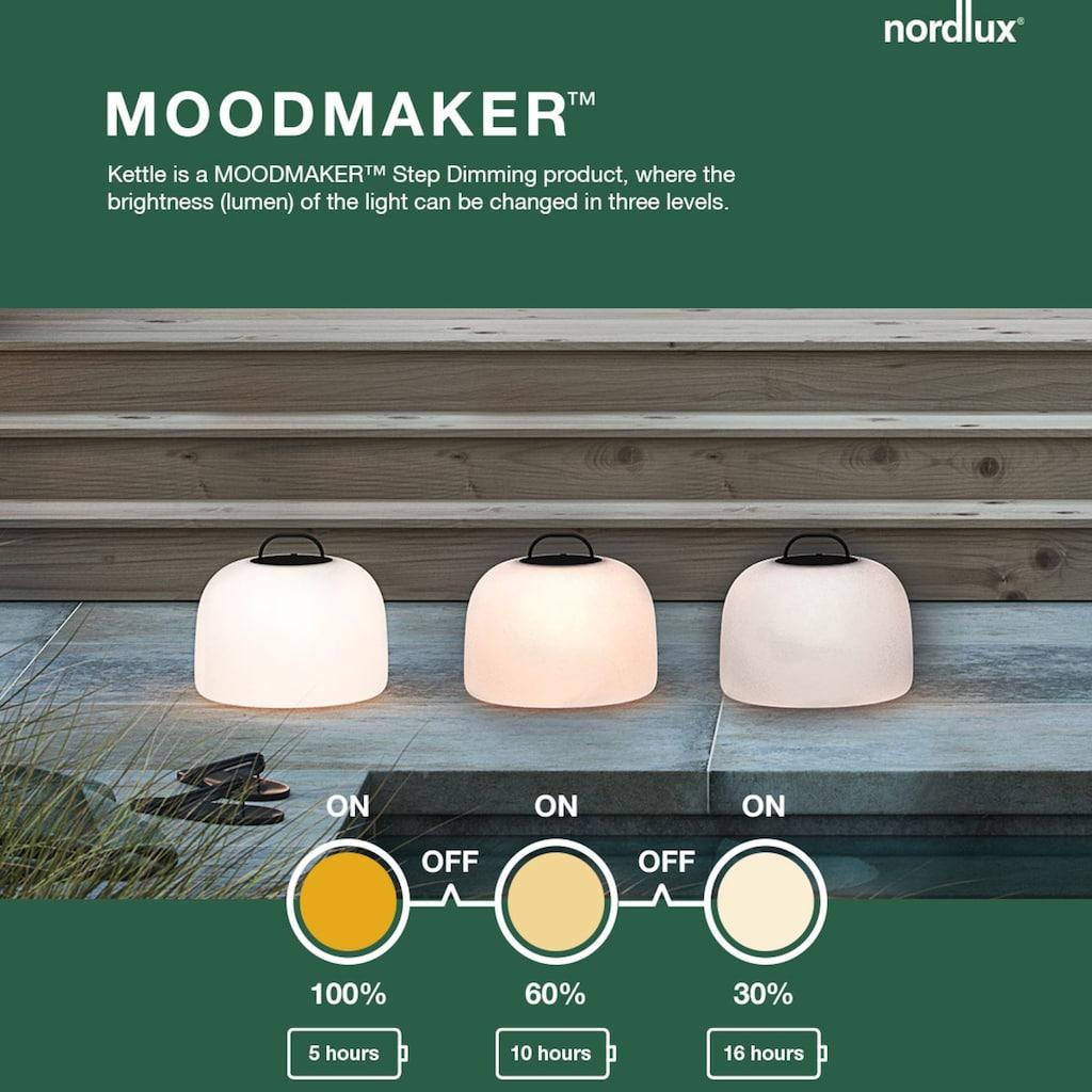 Nordlux LED Stehlampe »Kettle 36 Tripod 110 Eiche«, LED-Modul, Warmweiß, inkl. LED, Batterie, integrierter Dimmer, Außen und Innen, Eichen Fuß