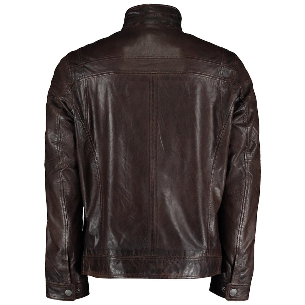 DNR Jackets Lederjacke, mit Kontrastfutter und Eingrifftaschen