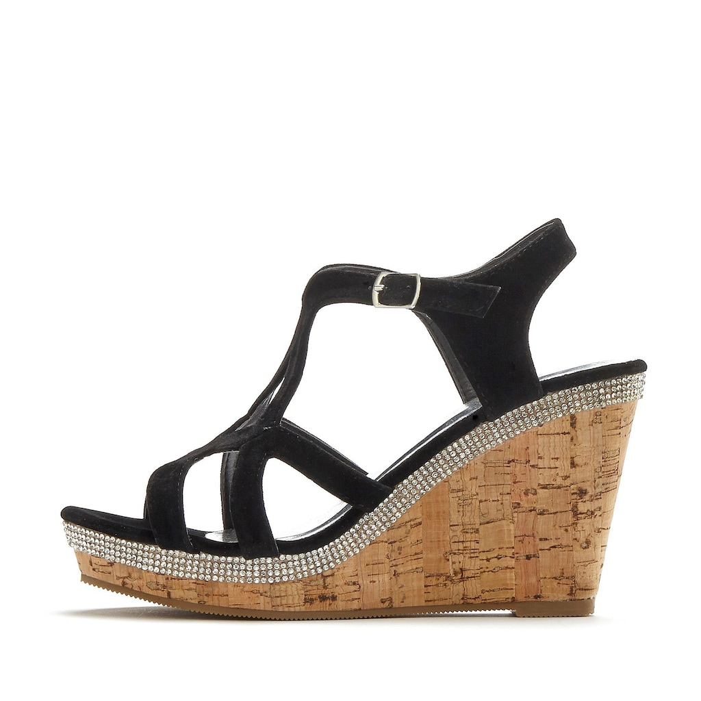 LASCANA High-Heel-Sandalette, mit Keilabsatz und Strasssteinen