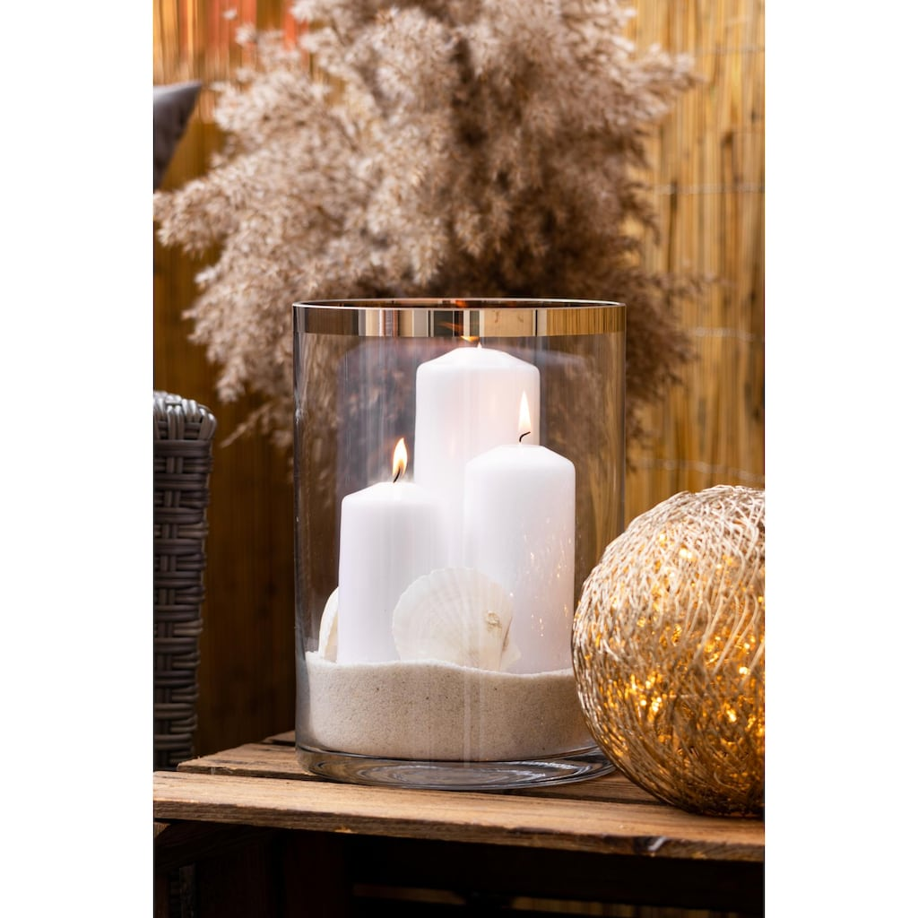 EDZARD Windlicht »Molly«, Laterne aus Kristallglas mit Platinrand, Kerzenhalter für Stumpenherzen, Höhe 39 cm, Ø 29 cm