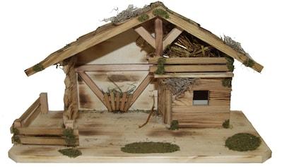 Alfred Kolbe Krippe »Krippenstall mit Massivholzboden, geflammt«, (1 tlg.), Echtholz kaufen