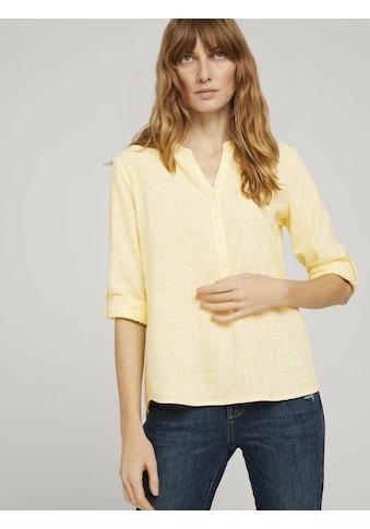 TOM TAILOR Langarmbluse »Strukturierte Henley Bluse« kaufen