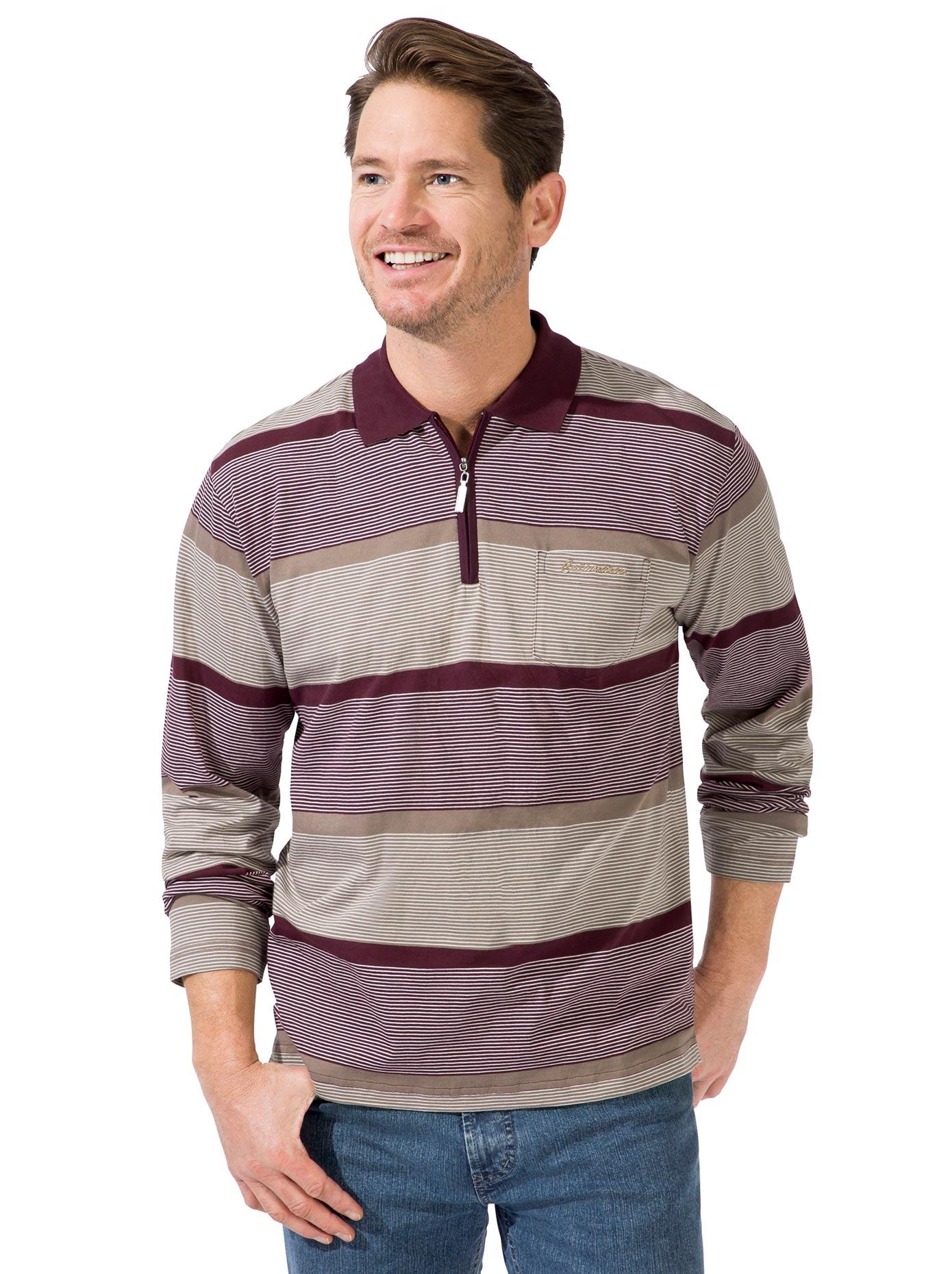 Langarm-Poloshirt rot Herren Langarm Shirts Poloshirts
