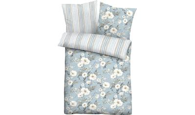 Biberna Wendebettwäsche »Ferdi«, im Blumen-Streifen Design kaufen
