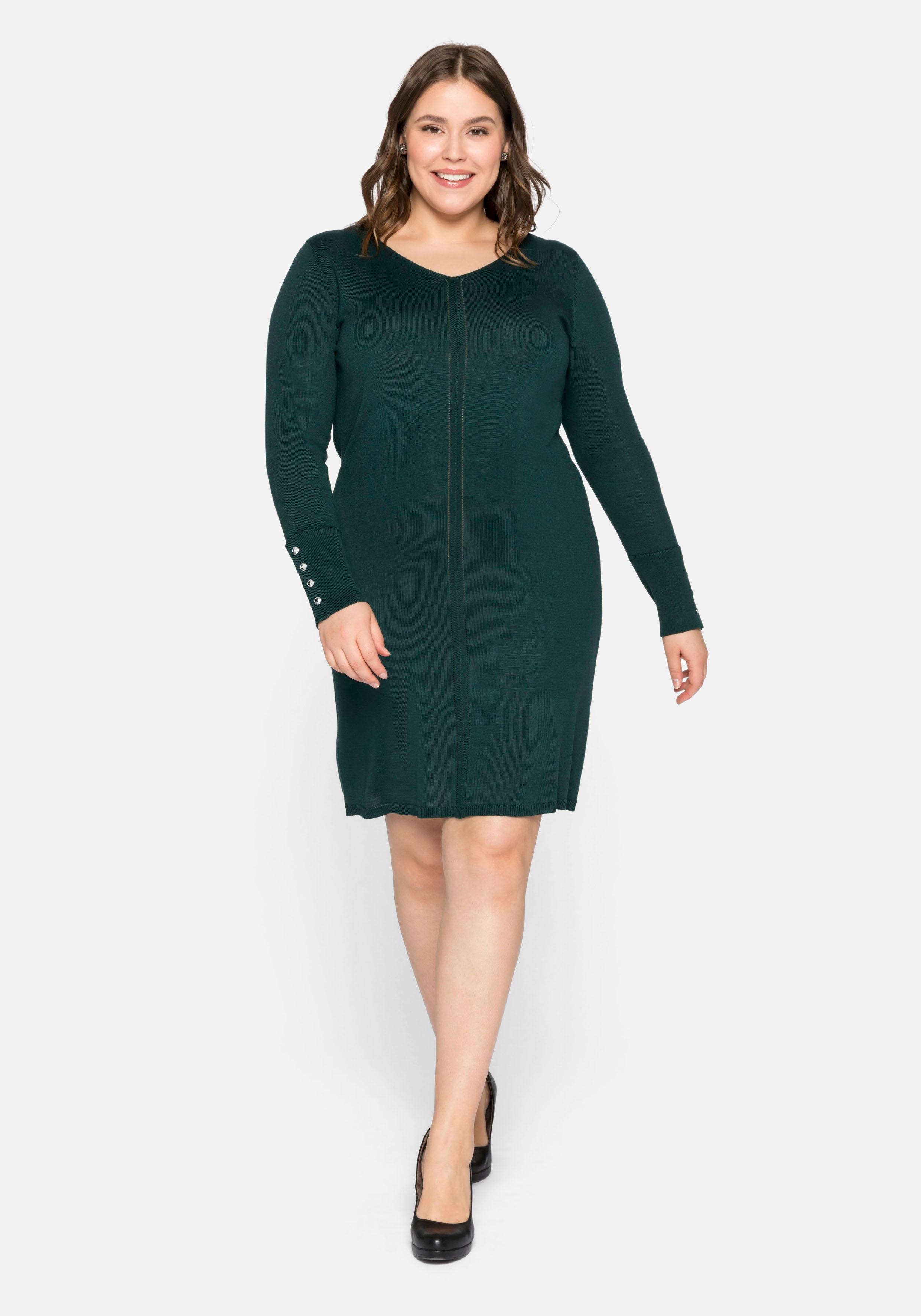 Sheego Strickkleid, aus Feinstrick grün Damen Strickkleider Kleider Strickkleid