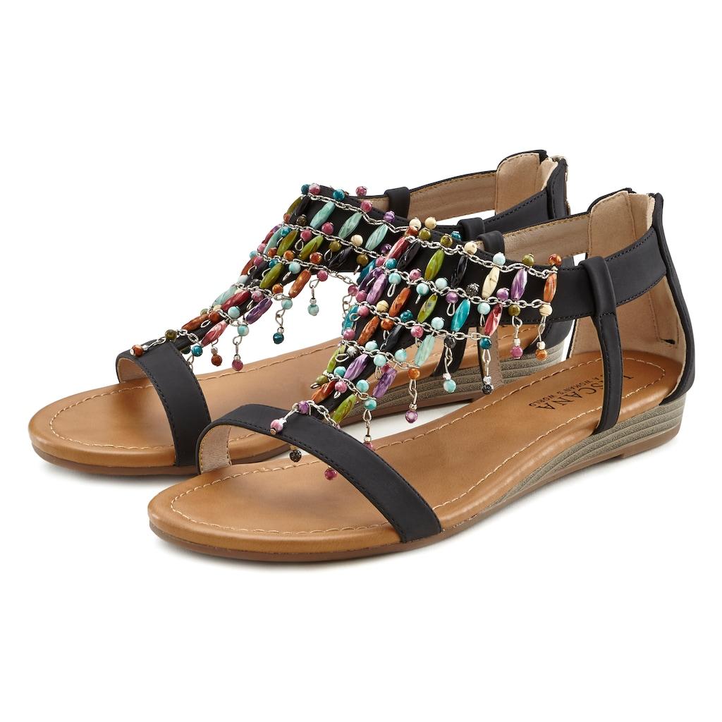 LASCANA Sandalette, mit kleinem Keilabsatz im Festival-Look