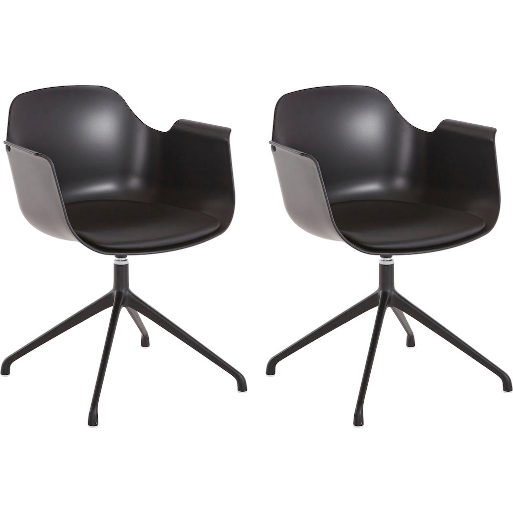INOSIGN Drehstuhl »Banu«, 2er Set, mit einer pflegeleichten Sitzschale und einem Kunstleder Sitzkissen, Sitzhöhe 43 cm