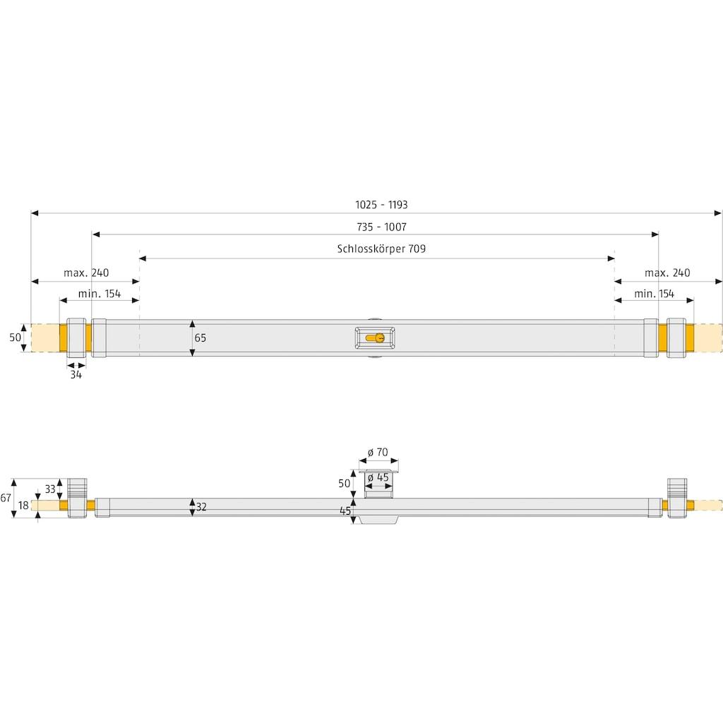 ABUS Tür-Sicherungsstange »PR2600«, Panzerriegelschloss über die gesamte Breite von 1025-1193 mm